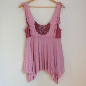 Free People Pink Embroidered Fringe Tank Top